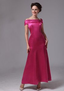 Off The Shoulder Satin Hot Pink Beaded Ankle-length Prom Dress