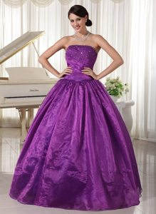 A-line Strapless Beaded Eggplant Purple formal Prom Dresses