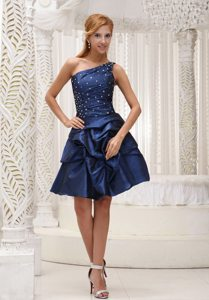 Taffeta One Shoulder Lace-Up Beaded Pick Ups Dress for Prom