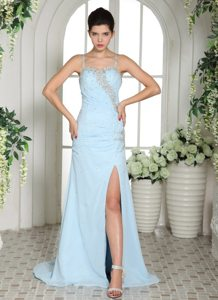 Spaghetti Straps Slitted Prom Dress for Girls with Crisscross Back