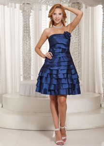 2014 Strapless Knee-length Ruffled Navy Blue Prom Maxi Dress