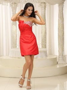Perfect Red Ruched Beaded Knee-length Prom Cocktail Dress