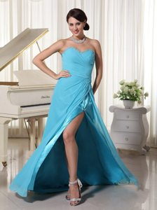 Charming Sweetheart Ruched Slitted Aqua Blue Prom Gown Dress