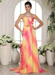 Brush Train Sweetheart Flowers Ombre Color Girls Prom Dress