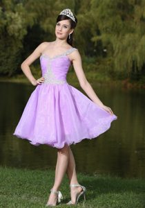 One Shoulder Beaded Short Prom Party Dress Colors for Choice