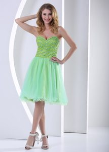 Plus Size Yellow Green Organza Beaded Short Ladies Prom Dress