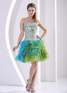 Multi-color Paillette Mini Prom Nightclub Dress with Ruffled Layers