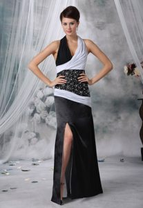 Halter top White and Black Beaded Slitted Prom Party Dress