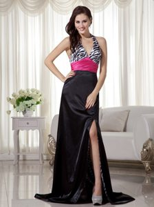 Plus Size Zebra Print Slitted Multi-colored Prom Dress for Ladies