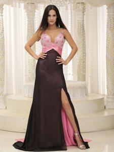 Brush Train Straps Slitted Beaded Pink and Black Dress for Prom