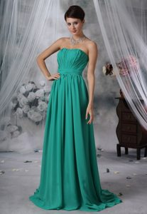 Cheap Chiffon Brush Train Ruched Turquoise Dresses for Prom
