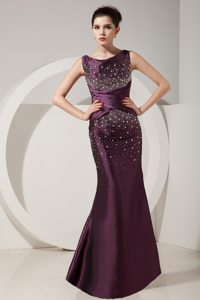 Mermaid Prom Gown Dress Bateau Beading Floor-length in Dark Purple