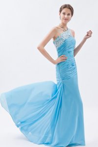 Pretty Baby Blue Prom Holiday Dress Beaded One Shoulder with Ruches