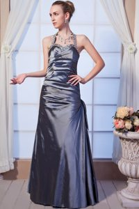 Ruched JS Prom Dresses Beaded Halter top with the Back out in Osasco