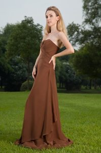 Noble Brown Prom Nightclub Dress Strapless Floor-length Lace up Back