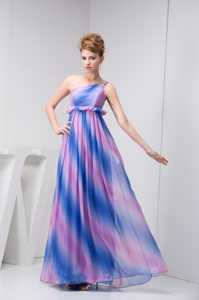 Multi-color One Shoulder Chiffon Prom Cocktail Dress with Floor-length