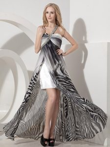 Luxurious Beading One Shoulder Prom Graduation Dresses Zebra Printed