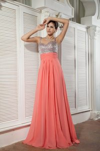 Sweetheart Straps Dress for Prom Princess Chiffon Sequins and Beading