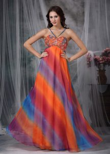 Spaghetti Straps Beaded Printing Colorful Prom Maxi Dresses