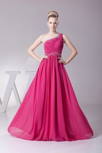 One Shoulder Beaded Ruched Chiffon Hot Pink Prom Maxi Dress