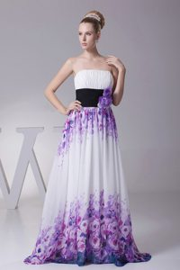 Popular Printing Ruched Flowers Colorful Prom Maxi Dresses