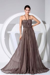 2013 Halter Top Column Ruched Pleated Brown Prom Maxi Dress