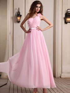 One Shoulder Ankle-Length Baby Pink Prom Dress with Flower