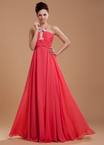 Beaded and Ruched Coral Red Prom Holiday Dresses with Cutouts