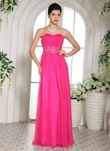 Beaded and Ruched Floor Length Prom Holiday Dresses in Hot Pink