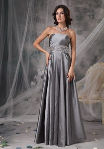 Gray Satin Strapless Beading Long Prom Holiday Dress in Fremont CA