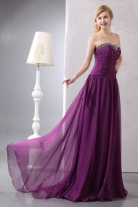 Ruching and Beading Decorate Purple Brush Prom Bridesmaid Dress