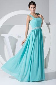 Beaded Aqua Blue Empire Straps Prom Maxi Dress in Emeryville CA