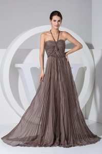 Brown V-neck Brush Train Prom Maxi Dress with Ruches and Pleats
