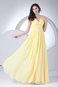El Cajon CA Ruched V-neck Chiffon Floor Length Prom Maxi Dress