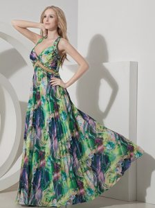 Beaded and Pleated Colorful Printing Prom Maxi Dress Criss Cross