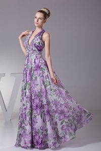 Beaded and Ruched Printing Prom Maxi Dress of Halter Top in Vogue