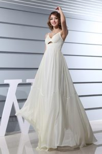 Culver City CA Spaghetti Straps White Prom Maxi Dress with Cutout
