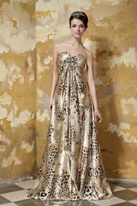 Beaded Empire Sweetheart Prom Party Dress with Animal Print 2014