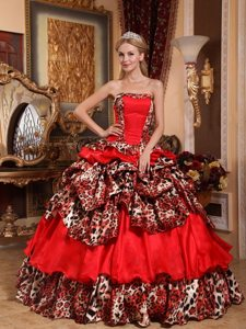 Brand New Strapless Leopard Print Red Dress for Quinceaneras