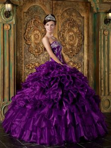 Design Ruffled Appliqued Purple Sweet 15 Dresses Wholesale