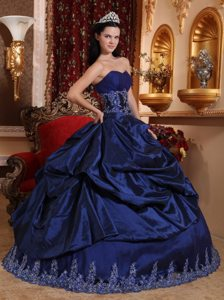 Appliqued Navy Blue Taffeta Quinceanera Gowns with Pick ups 2014