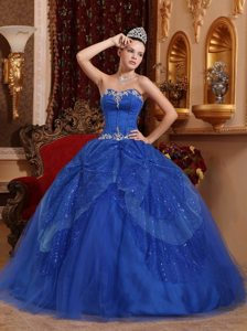 Appliqued and Sequined Blue Organza Sweetheart Quinceanera Dress