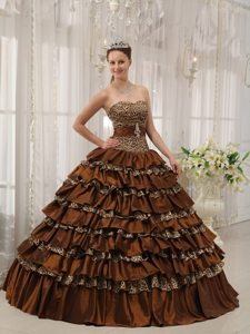 Brown Quinceanera Dress with Ruffled Layer and Leopard Print