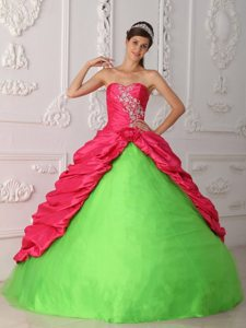 Appliqued Quinceanera Dresses in Hot Pink and Spring Green 2014
