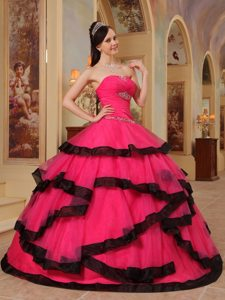 Hot Pink Sweetheart Appliqued Quinceanera Dress with Black Frills