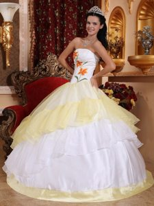 Light Yellow and White Organza Quinceanera Gown with Embroidery
