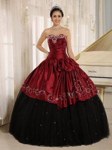 Embroidered and Ruched Quinceanera Gowns in Black and Wine Red