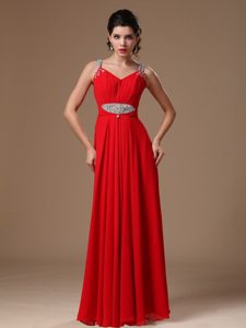 2014 New Style Red Beaded Straps Chiffon Evening Prom Dresses
