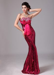 Paillette Mermaid Hot Pink Celebrity Prom Dresses with Bowknot