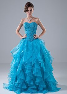 Ruffled Sweetheart Beaded Prom Homecoming Dresses in Aqua Blue